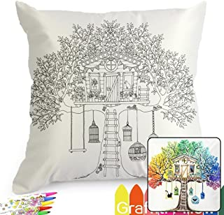 Treehouse Pattern Graffiti Coloring Pillowcases 18 Inch Square for Kids, with A Set of 12 Doodle Color Pens