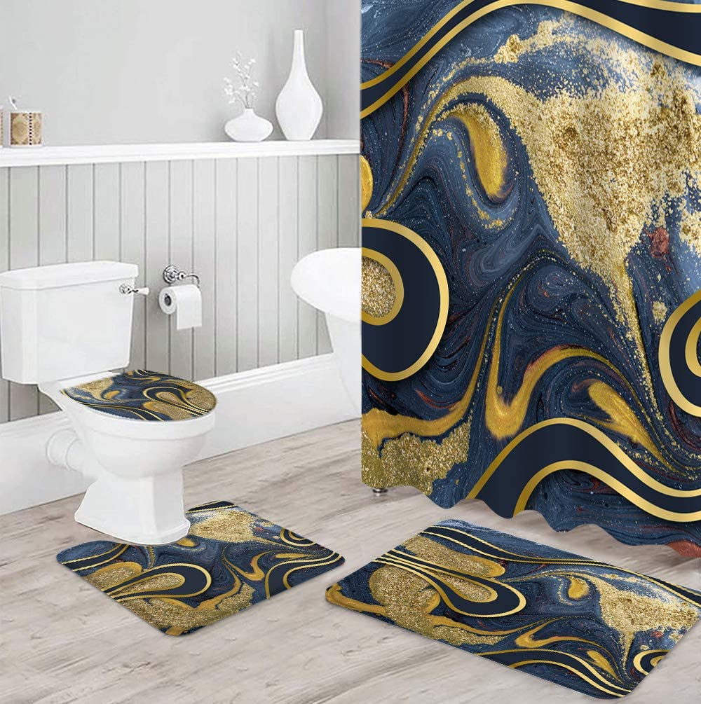 Shower Colorado Springs Mall Curtain Set 4 Piece for Max 79% OFF with Bathroom Toil Rugs Non-Slip