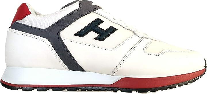Scarpe hogan  uomo sneaker h321 h flock hxm3210y861n7n948g bianco tela e pelle B0852829NY