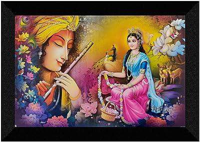 SAF Radha Krishna modern art UV Textured Synthetic Frame Painting 20 Inch X 14 Inch SANFM31302