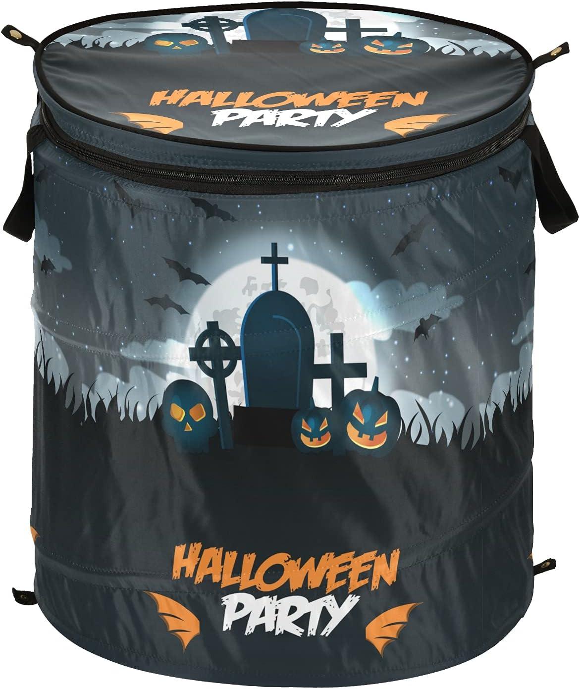 Moon Pumpkins Finally resale start Max 42% OFF Bat Happy Halloween Pop Laundry Up with Hamper Lid
