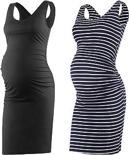 ba991d447 Qunisy Women s Sleeveless Maternity Tank Dress Ruched.
