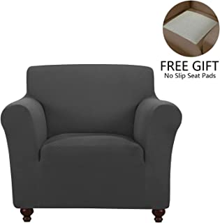 QSY Home Stretch Sofa Slipcover Cover Chair Furniture Protector Dog Cat Pet Slipcovers Machine Washable Skid Resistance Polyester Spandex Fleece Fabric (Chair,Charcoal)
