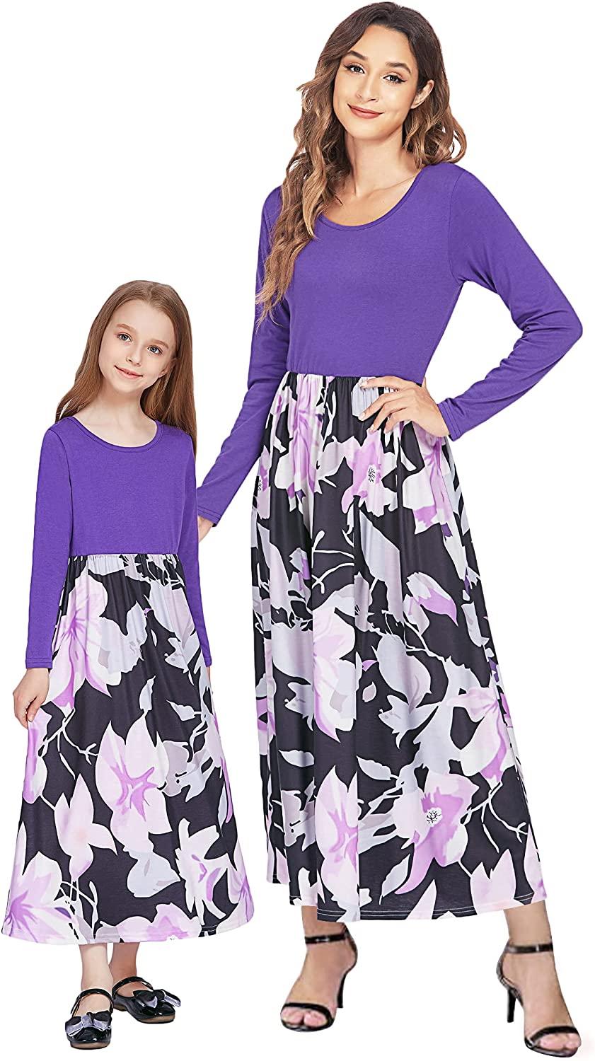 Greatchy Mommy and Me Dresses Ruffle V-Neck Short Sleeve Cotton Matching Family Outfits Summer Dress