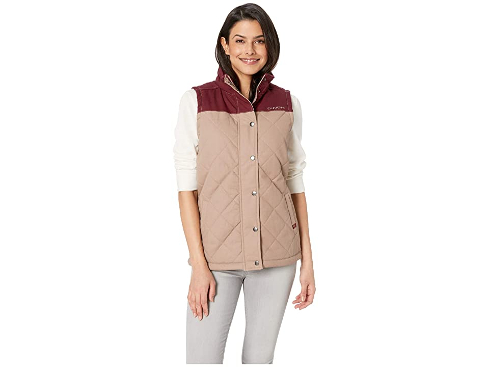 Cinch Quilted Polyfill Vest (Brown) Women