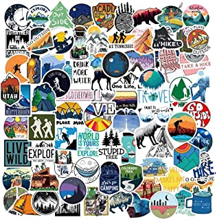 Outdoor Hiking Adventure Camping Stickers Pack 107pcs, Waterproof Vinyl Travel Wildlife Stickers for Water Bottle Hydrofla...