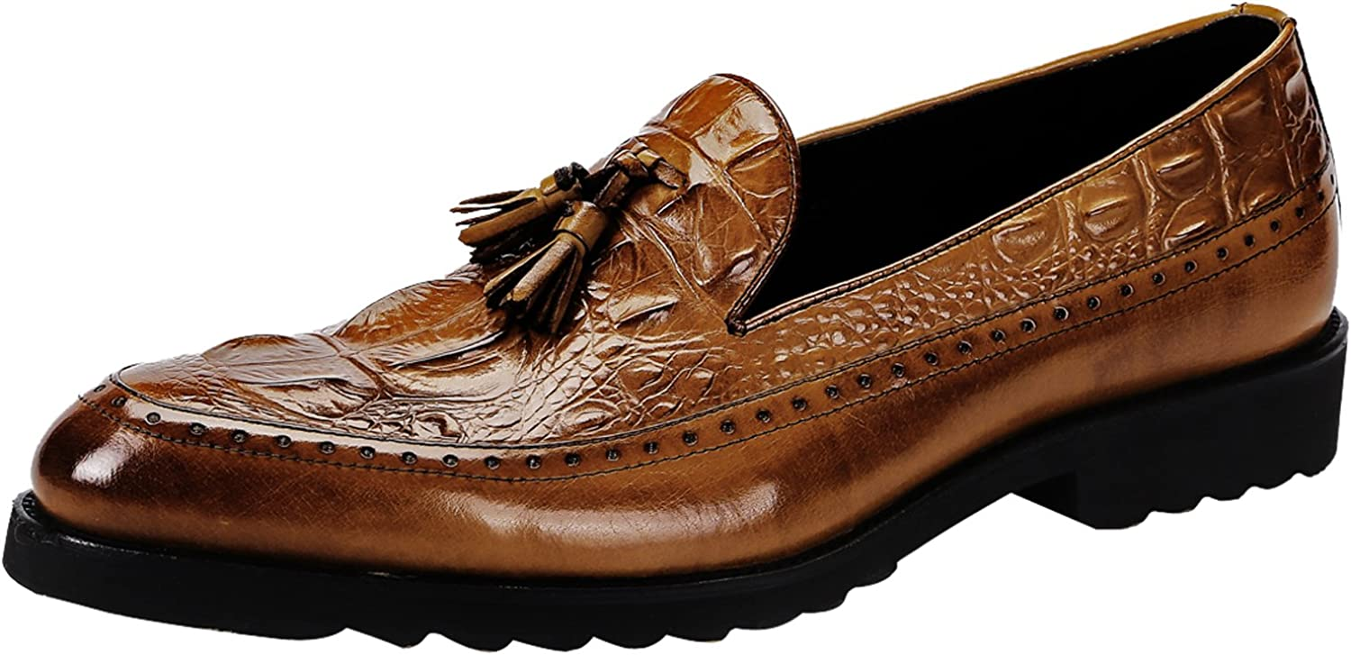 Santimon Dress shoes for Men Alligator Crocodile Print Tassel Loafer Genuine Leather Slip On