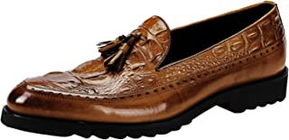 Santimon Dress Shoes for Men Alligator Crocodile Print Tassel Loafer Genuine Leather Slip On by