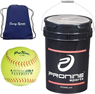 ProNine 12 Inch Softballs in Bucket (24 Balls) Bundled with Covey Sports Drawstring Ball Bag (24 Balls, 12 Inch Official League)