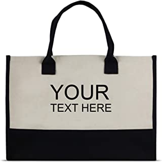 Personalized Name Custom Embroidered Monogram Tote Bag with 100% Cotton Canvas Personalized Monogram Embroidery ( Letter - Name Initial)