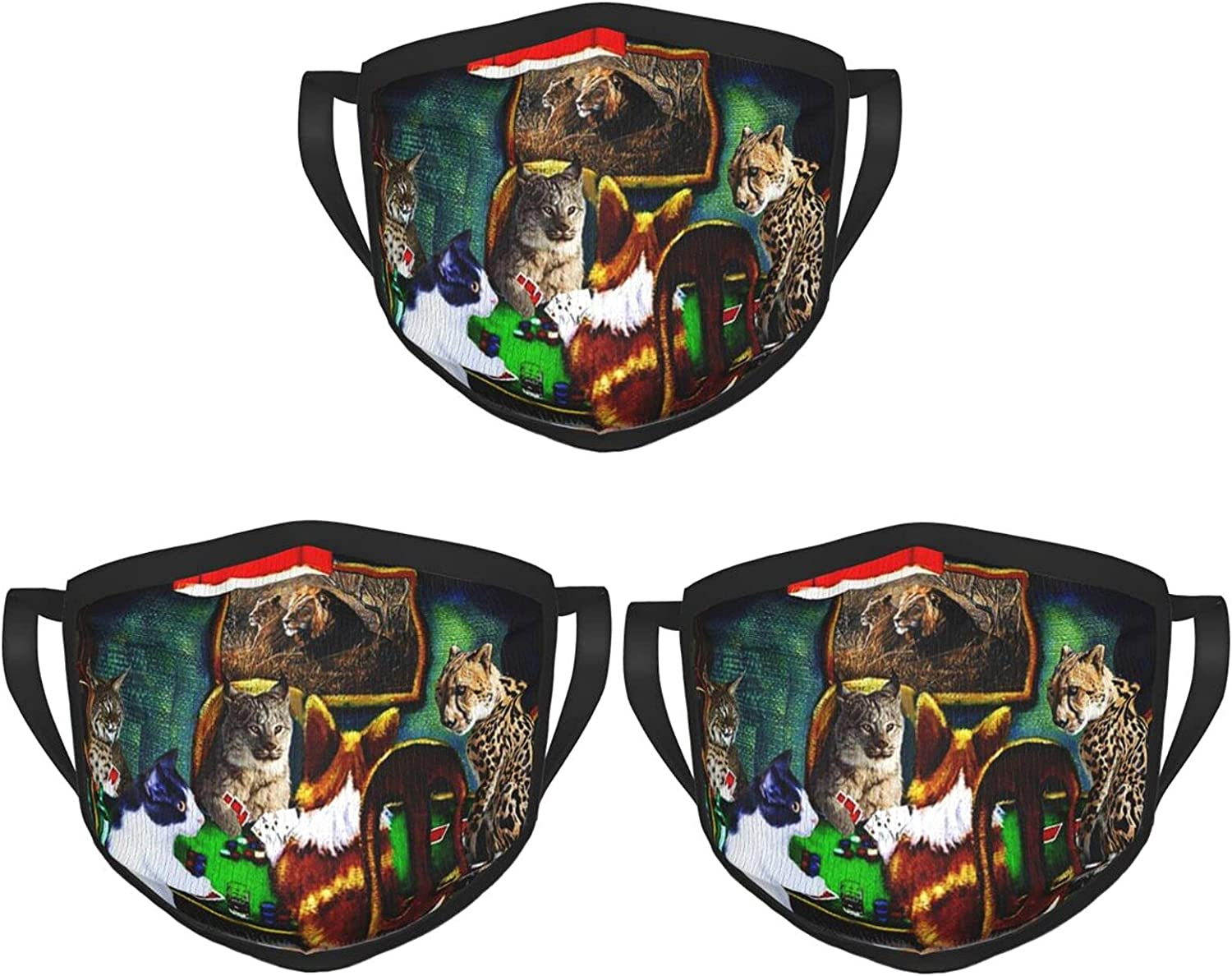 Balaclava Earmuffs Happy Cats Playing Wild Poker Face Mouth Cover Mask Reusable Dust Scarf Towel Cover Headwrap