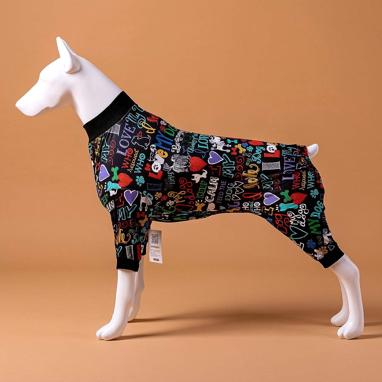 LovinPet Large Pajamas//Post Surgery Shirt//UV Protection//Love My Dog Words Black Prints//Post Surgery Shirt//UV Protection Pet Anxiety Relief Wound Care for Large Dog Onesies