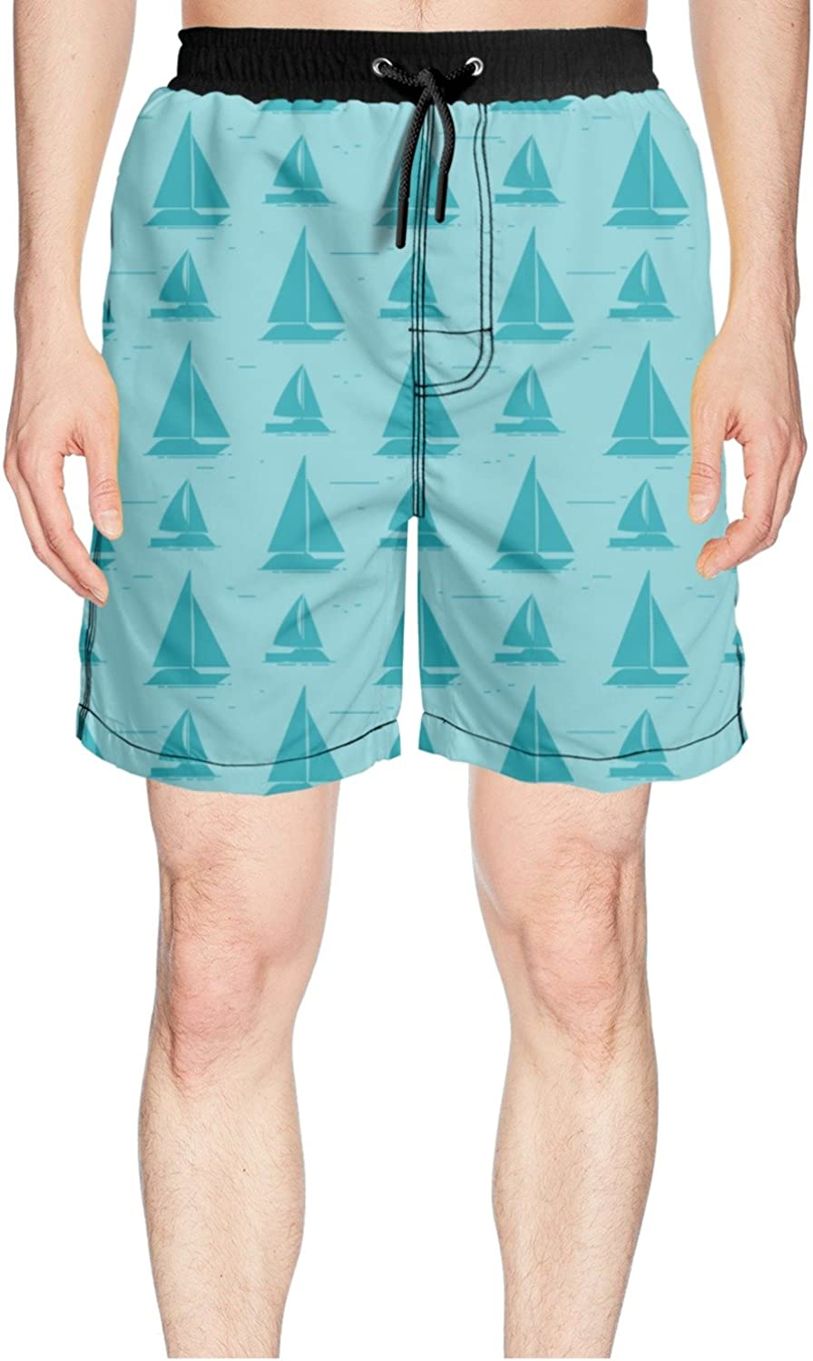 f21d1cae85b07 Truye rrelk Patterned Sailboat Silhouettes Design Printed Mens Guys Guys  Guys Shorts for Beach 5b6f9a