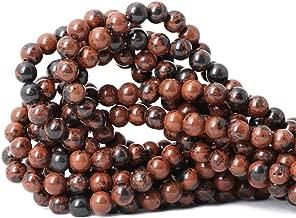 Qiwan 45PCS 8mm Natural Mahogany Obsidian Gemstone Round Loose Beads for DIY Jewelry Making handmade materials 1 Strand 15
