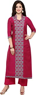 Inddus Pink chanderi cotton kurta With Palazzo/Women Festive wear