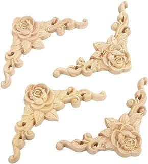 comprar comparacion SODIAL 10 piezas de Calcomania tallada en madera de Floral Aplique de esquina Decorar el marco Estatuillas de madera Artes...