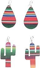 MONOBLANKS 2 Pairs Leather Rainbow Earrings Serape Teardrop Cactus Lightweight Drop Earrings Christmas Gift For Teens Girls Women