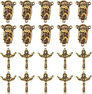 PandaHall 10 Sets Tibetan Style Rosary Cross and Center Miraculous Medal with Alloy Crucifix Cross Pendants and Oval Chandelier Links for Rosary Holy Beads Necklace Making Antique Golden