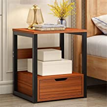 Bedroom Bedside Table Storage Cabinet Wooden Table for Study Room Living Room Nightstand End Table with Storage Drawer for...