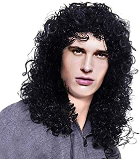 ☘️Wigs Hair for Men☘️ 1PC Mens Long Curly Black Hard 80s Rocker Wig Themed Party Wig Halloween Costume Anime Cosplay Wig / 16 inches (Black)