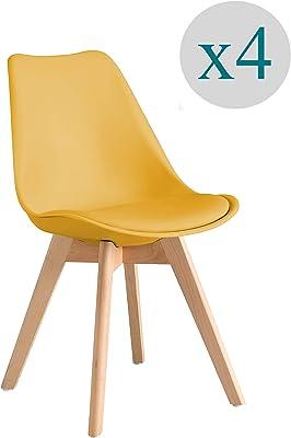 Aryana Home - Pack De 4 Silla nórdica Scandi Color Mostaza