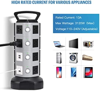 14-Outlet Power Strip Vertical Charging Station with 4 USB Ports and 6.5-Feet Po