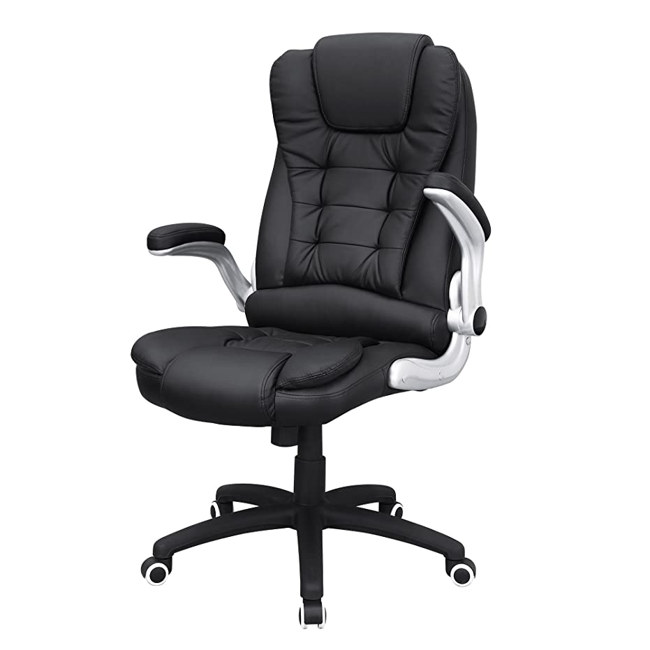 のみデッドロック電報SONGMICS オフィスチェア 社長椅子 パソコンチェア 座面昇降 ハイバック PUレザー 机下に収納可 NOBG51B