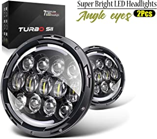 TURBO SII 7 Inch 78W LED Headlights Fit 1997-2018 Jeep Wrangler TJ JK with Hi/Lo Beam, DRL and Amber Turn Signals Round Headlamps (Pair)