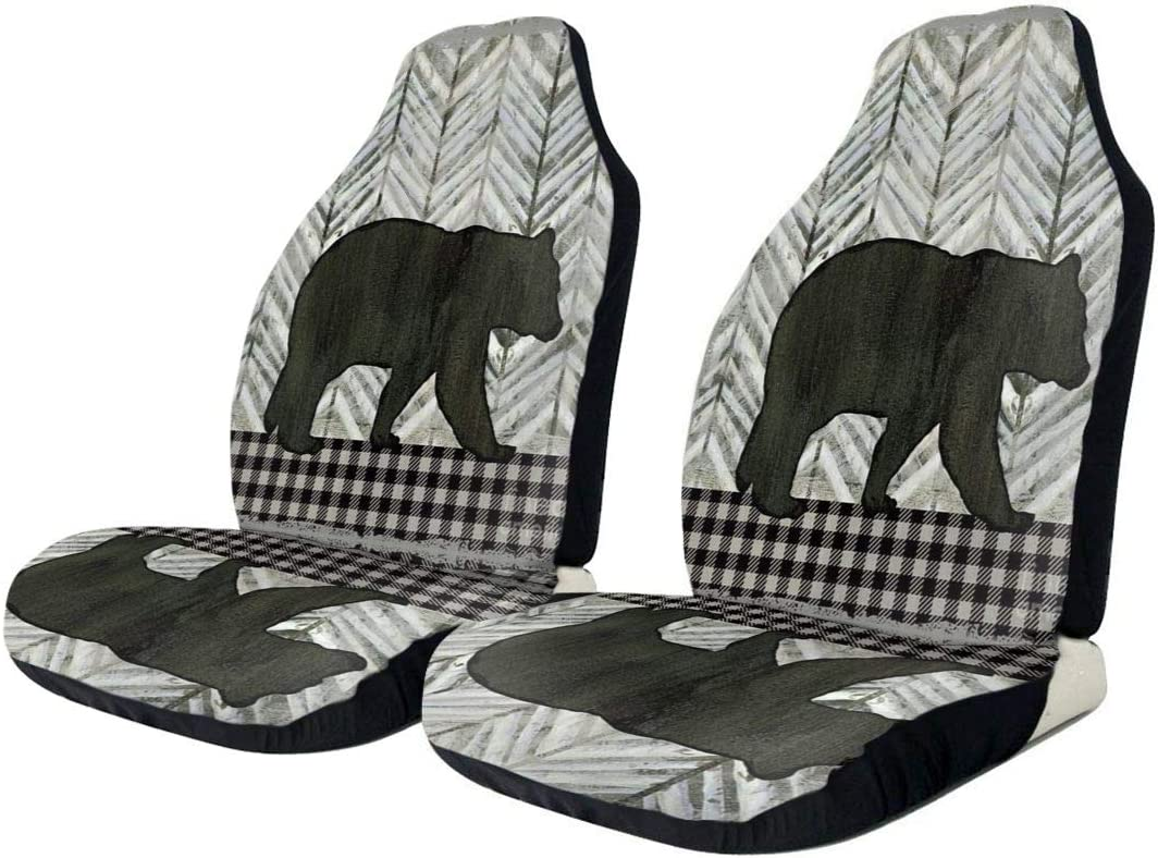 Car Seat Protector Covers Retro Rustic Forest Bear Black Plaid Front Car Seats Cover Cushion Only Universal Fit for Cars Truck SUV Van