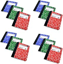 Mini Marble Composition Books, Thread Bound Notebooks, Red, Blue and Green, 12-ct, 600 Total Pages by Greenbrier