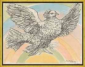 Berkin Arts Marco Pablo Picasso Giclee Lienzo Impresión Pintura póster Reproducción Print(Paloma Volando en el Arcoiris) #XLK