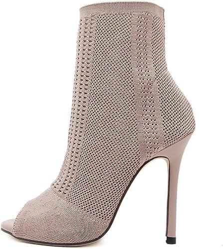 ZHZNVX La Bouche du Poisson pour Femmes élégantes Chaussures Fines Exposés pour Tricoter des Chaussettes à Haut Talon, Beige 39