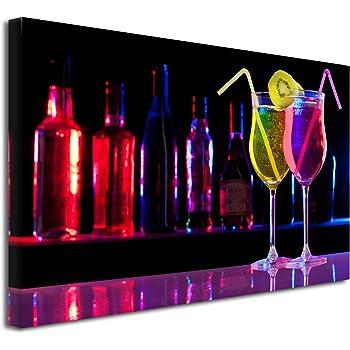 Tableau en Toile imprim/é DECLINA Tableau pour Cuisine d/écoration Murale,/Tableau Cuisine panoramique Cocktail 80x30 cm