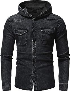 Herenshirt met capuchon Mode Slim Fit Lange mouw Casual gewassen Retro stiksels Outdoor Trendy Shirt Top met zak