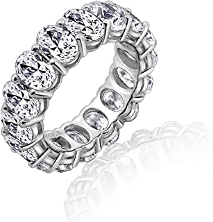 Diamonbliss Platinum Clad Cubic Zirconia 100-Facet Oval Eternity Band Ring
