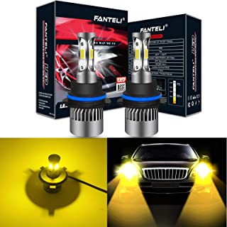 FANTELI 9004/HB1 3000K Yellow 3-Sided LED Headlight Bulbs All-in-One Conversion Kit - 72W 8000lm Dual Hi/Lo Beam Extremely Bright