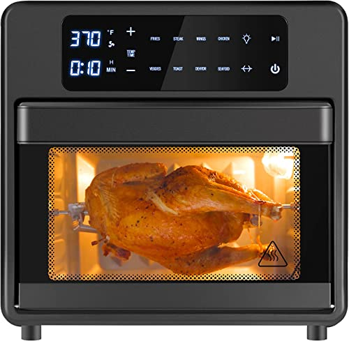 new arrival Air Fryer Toaster online sale Oven Combo 16 Quarts, 8-in-1 Large Capacity Airfryer Oilless Cooker outlet online sale with 6 Accessories, Rotisserie, Dehydrator, Air Fry, Shake Reminder, LED Touch Screen, Auto Shut Off, 20 Recipes outlet online sale