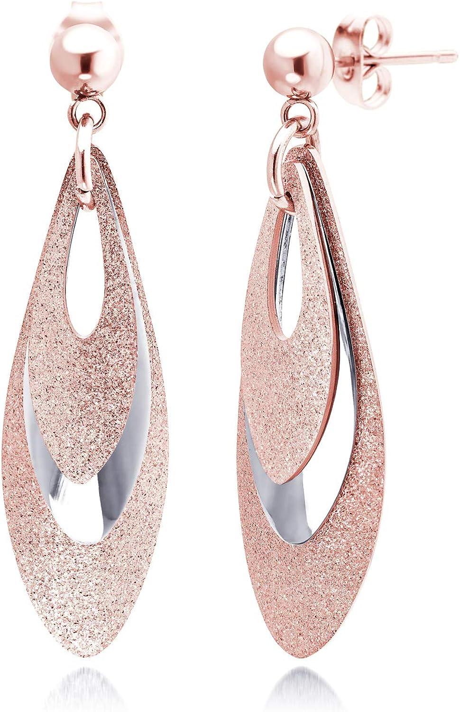 555Jewelry Womens Stainless Steel Teardrop Triple Dangle Stylish Shiny Earrings