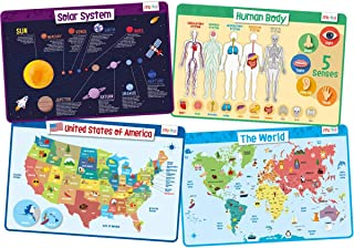 merka Kids Placemats Educational Placemat Non Slip Explorer Set Solar System Human Body..