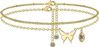 M MOOHAM Dainty Butterfly Anklets for Women, 14K Gold Filled Initial Anklet for Women Handmade Gold Anklets for Women Boho...