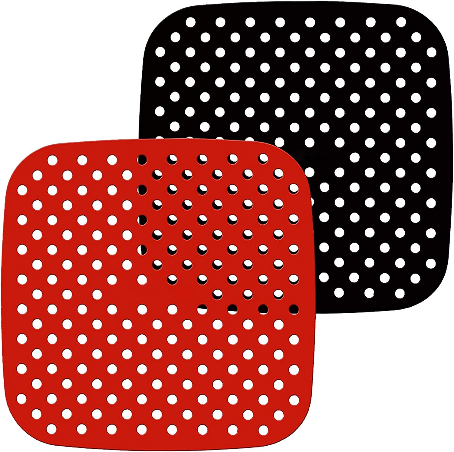 Reusable Air Fryer Liners Silicone, 8.5 Inch Square Air Fryer Mats, Air Fryer Accessories Non-Stick for Ninja, Cosori, Instant Pot, 5.8 QT & Larger Air Fryers, Replacement for Parchment Paper (2-Pack)