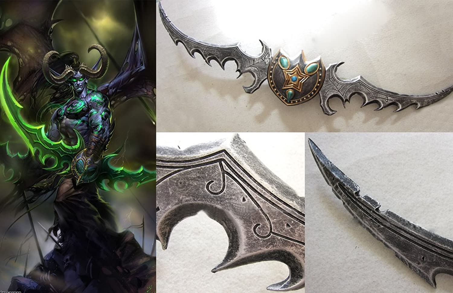Dream2Reality Cosplay war of warcraft wow Illidan Warglaive of Azzinoth mittel gekohltem Stahll set of 2