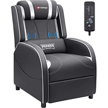 Devoko Massage Gaming Recliner Chair PU Leather Home Theater Seating Single Modern Living Room Sofa Recliners (Silver)