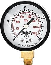 Winters PEM Series Steel Dual Scale Economical All Purpose Pressure Gauge with Brass Internals, 0-200 psi/kpa, 2