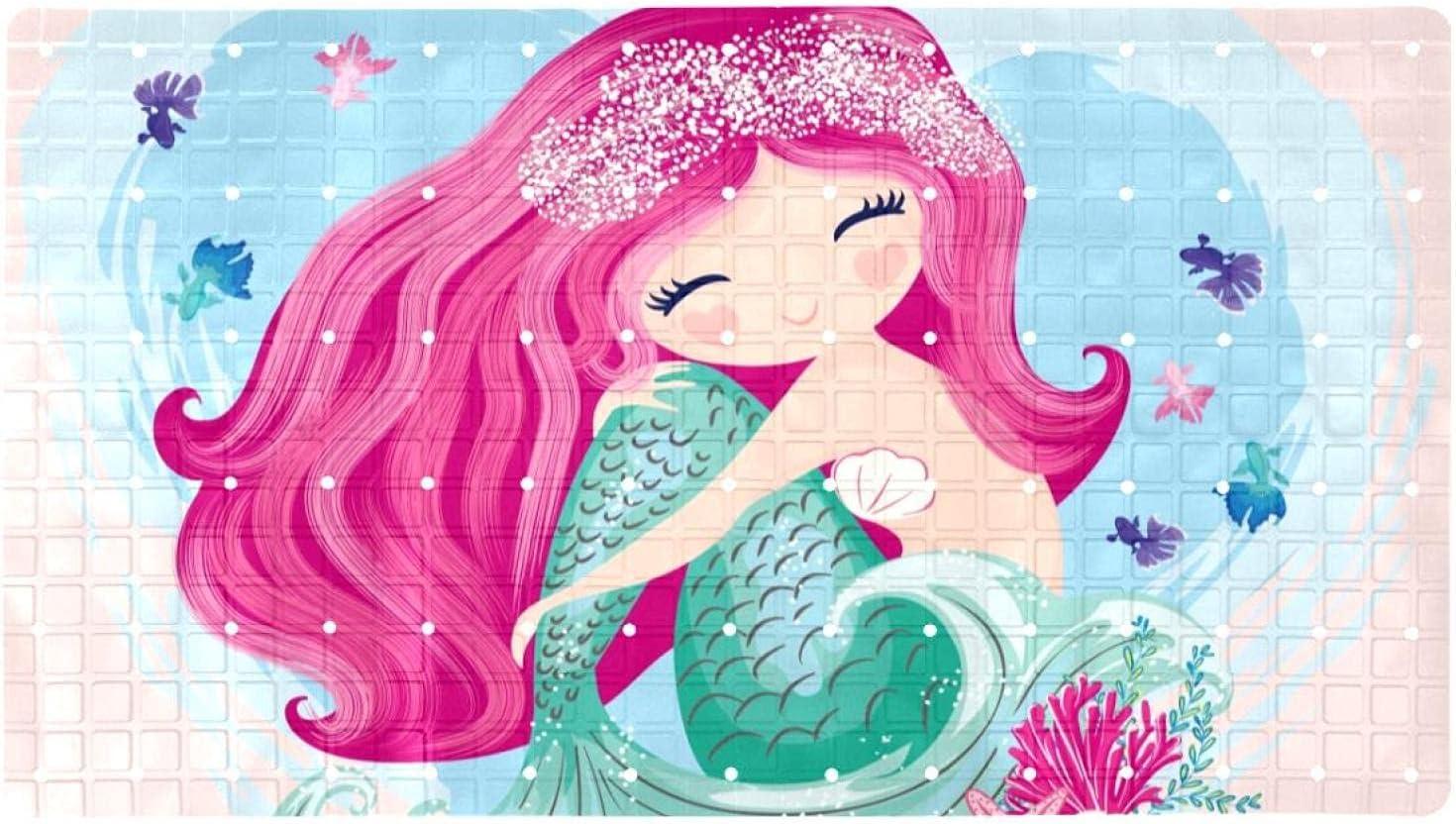 Inhomer Cheap mail order sales High quality new Non-Slip Bathtub Mats Beauty Prints Ba Mermaid Girl Soft