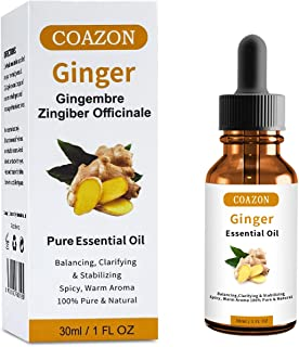 Ginger Essential Oil - 100% Pure and Natural for Diffuser, Relaxation, Skin Therapy, Smooth Skin, Hair Growth, Spa at Home...