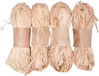 Tosnail 7 Ounce Natural Raffia Bundle - Great for Gift Wrap, Box Filler