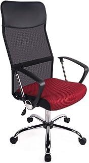 Poptoy - Silla de Escritorio giratoria con Respaldo Alto con Malla y Altura Ajustable para el hogar y la Oficina… (Rojo)