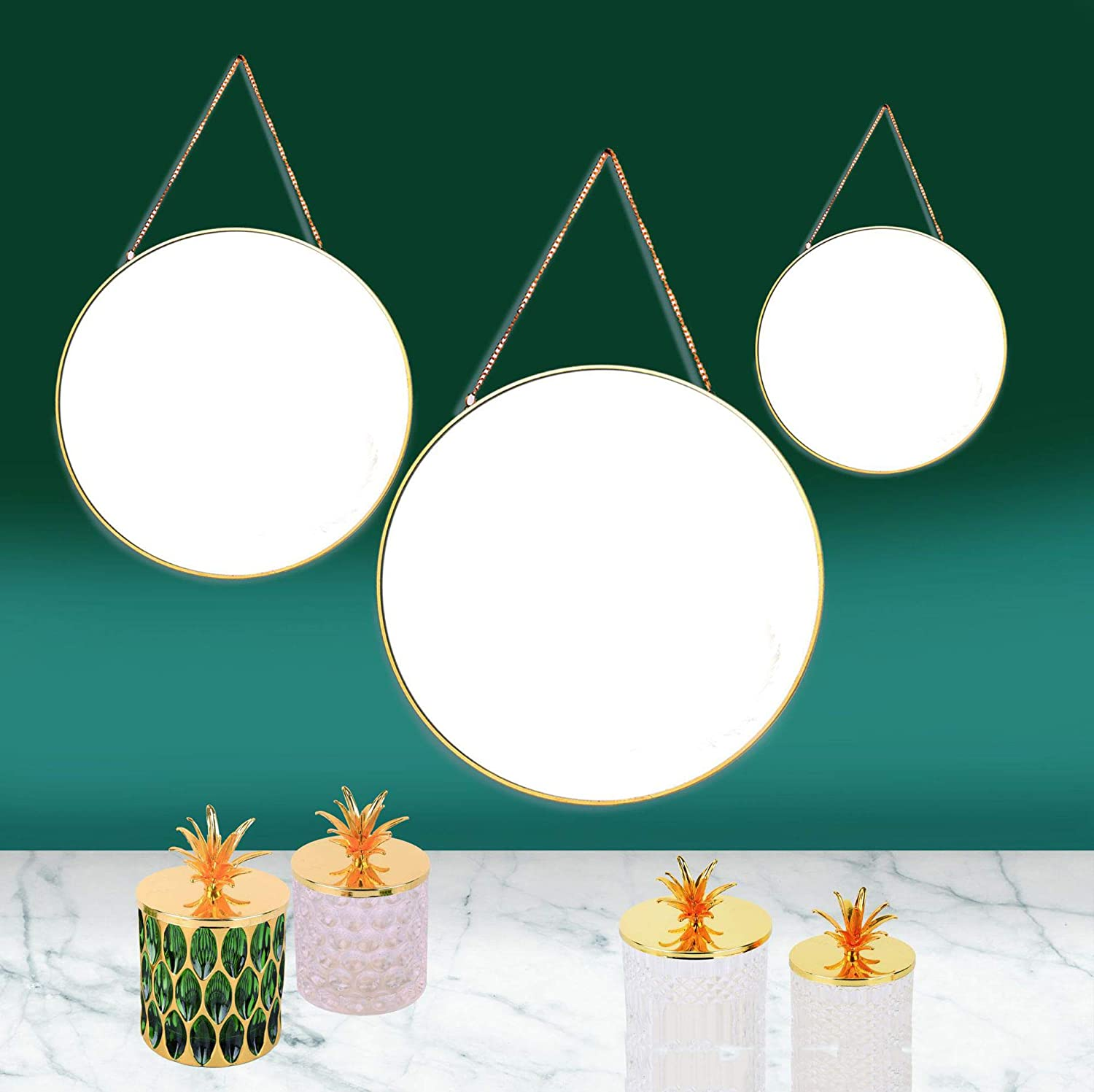 Gold Hosoncovy Metal Frame Round Wall Mirror Hanging Decorative Mirror with Chain 24CM Diameter Makeup Mirror Vanity Mirror for Bathroom Living Room Bedroom