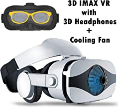 VR Headset Virtual Reality Goggle w/Headphone & Fan for 3D Movie Game, VR Glasses Compatible for iPhone Xs MAX XR X 8 7 Plus Samsung Galaxy S9 S8 S7 Edge Note 5 4 3 LG G7 G6 G5, 360 VR Viewer White